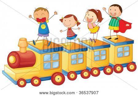 Ilustración de un niños en un tren en fondo blanco
