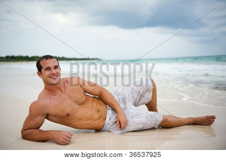 Attractive man enjoying nature
