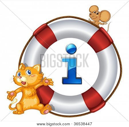 illustration of a cat, mouse and lifesaver floating on a white