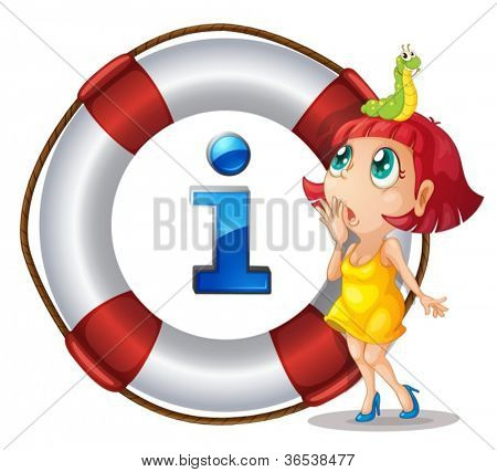 illustration of a girl, insect and lifesaver floating on a white background