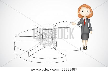 illustration of business lady standing with bar graph drawing