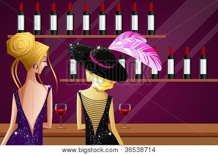 illustration of female friend enjoying drink in kitty party