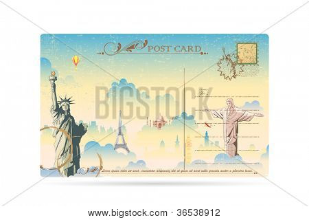 illustration of world famous monument on travel postcard