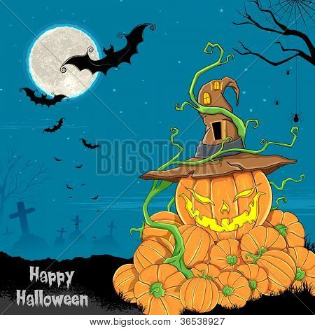 illustration of jack-o-latern pumpkin in halloween night