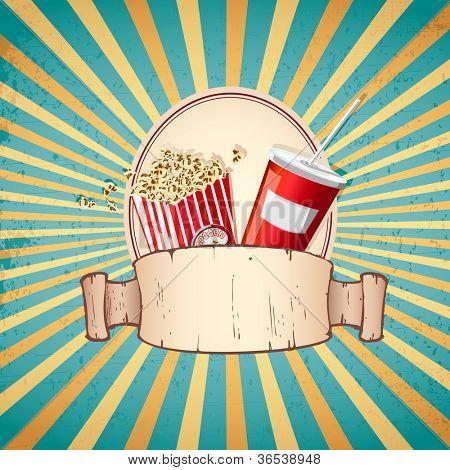 illustration of cold drink and pop corn on sunburst vintage background