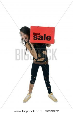 Standing Lady Holding Carry-Bag