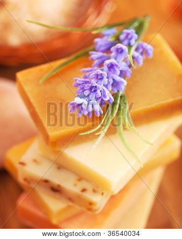 Photo of different color soap and purple lavender flower, image of natural organic cosmetics for shower, picture of handmade soap bar, beauty treatment, skincare concept, homemade hygiene