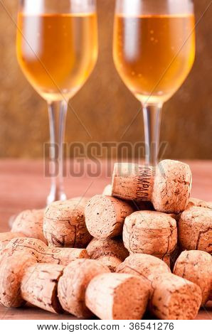 Pile Of Champagne Corks