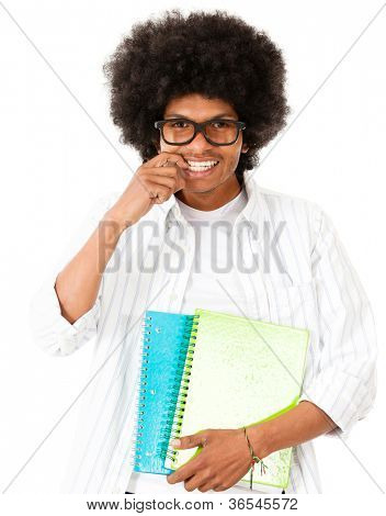 Nerd afro student - isolated over a white background