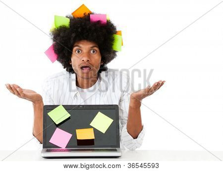 Overwhelmed afro man with post it notes - isolated over a white background
