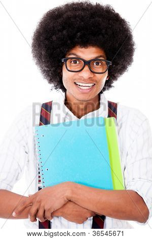 Black nerd student holding notebooks - isolated over a white background