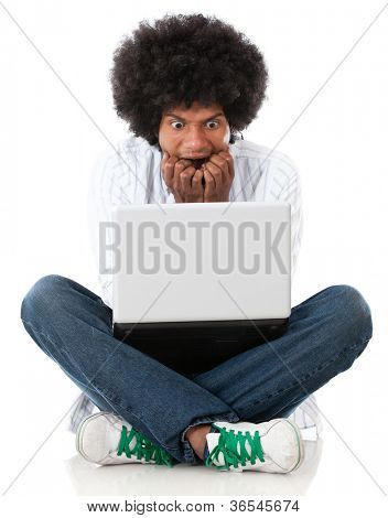 Stressed man with a laptop - isolated over a white background