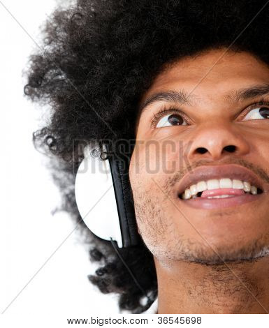 Afro man with headphones - isolated over a white background