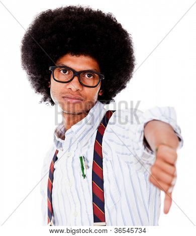 Nerd with thumbs down - isolated over a white background