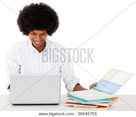 Black man studying online - isolated over a white background