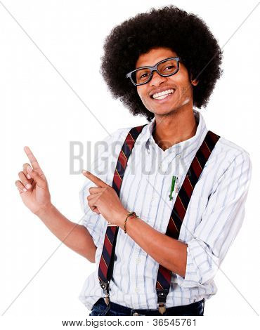 Happy nerd pointing something - isolated over a white background
