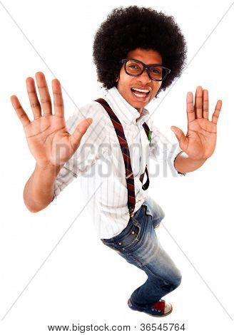 Geeky black man having fun dancing - isolated over a white background