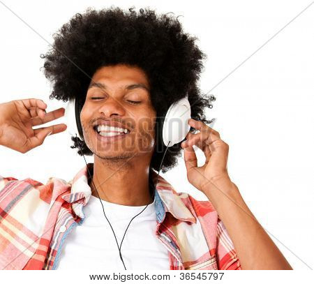 Afro man with headphones enjoying the beat - isolated over a white background