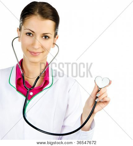 Doctor with the stethoscope in shape of heart on white background