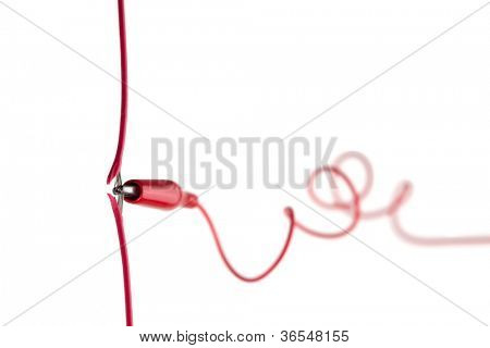 Hacked or tapped communication line or cable, isolated on white.