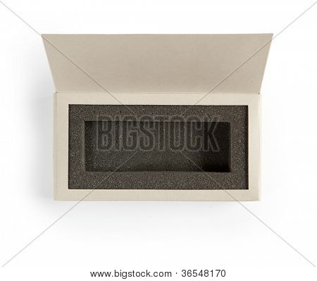 An open gift box. A box with lid open, with inner foam cushion. Isolated on white.