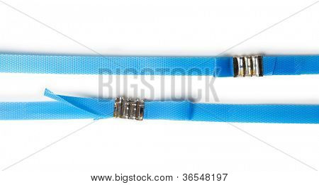 Blue packaging straps or tapes with metal fasteners, isolated on white.