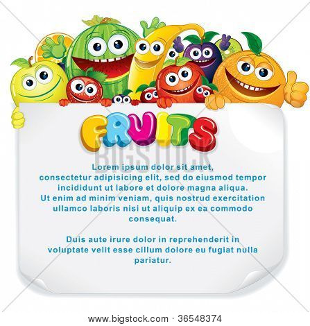 Cartoon Fruits. Funny Banana, Apple, Orange, Strawberry and other are holding a Blank Sign. Illustration