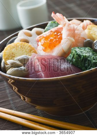 Sushi Rice Bowl With Tuna Salmon Prawn Tofu And Vegetables