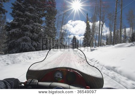 Subjective point of view of riding snowmobile