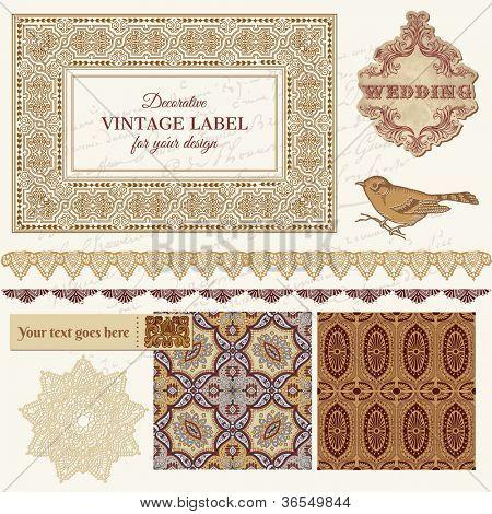 Set de Scrapbook boda Vintage - azulejos persas y pájaros en vector