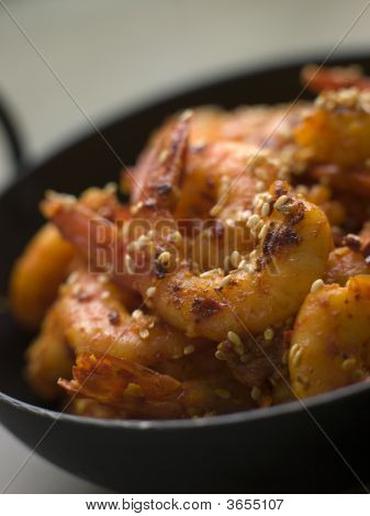 Chili And Sesame Fried King Prawns