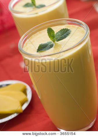 Glasses Of Mango Lassi