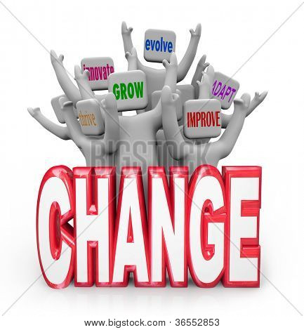 A team or group of cheering people behind the word Change, each with a different term or phrase representing adaptation - adapt, thrive, innovate, improve, grow and evolve