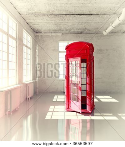 retro call-box in the empty room ( illustrated concept)