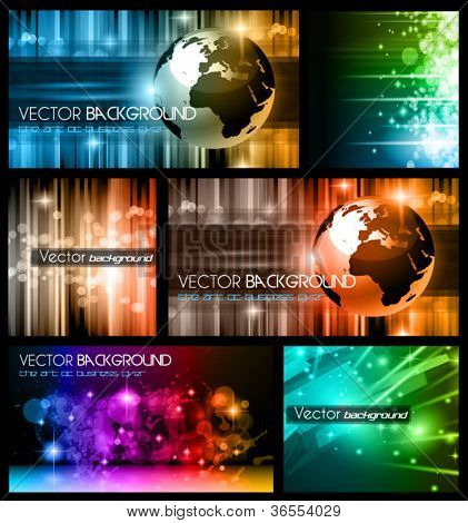 Hitech Abstract Business Backgrounds Collection with Abstract Glowing motive and 3D earth.