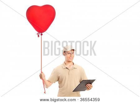 A delivery boy delivering a red heart shaped balloon isolated on white background