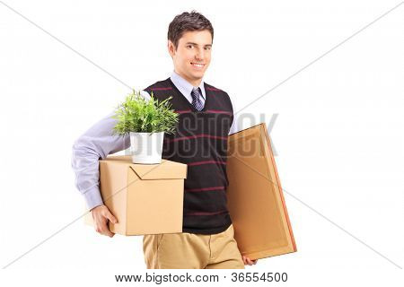 A person with moving box and other stuff isolated on white