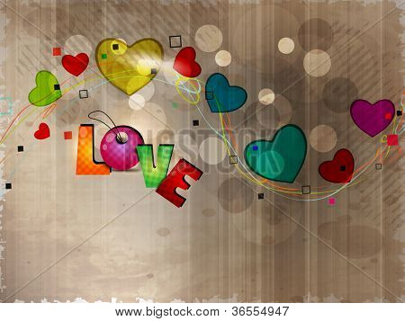Colorful heart shapes in wave on grungy brown background with colorful text love. EPS 10.
