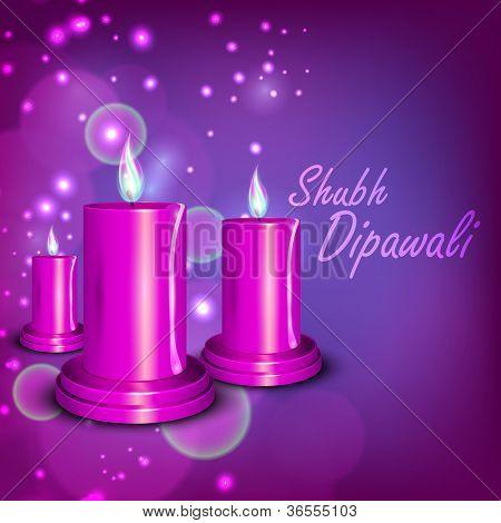 Beautiful illuminating candles background for Hindu community festival Diwali or Deepawali in India. EPS 10.