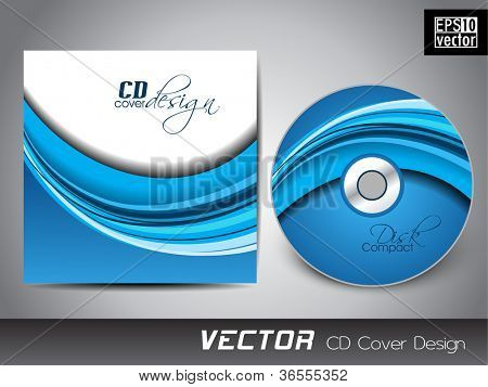 Abstrato design de capa de CD com onda azul no branco background ...