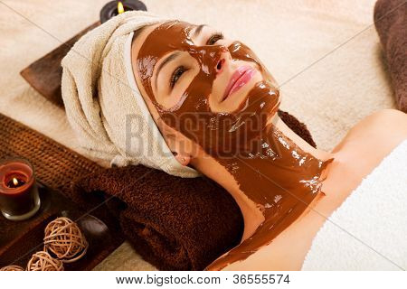 Spa Chocolate Mask.Facial Spa. Chocolate Treatments. Beauty Spa Salon