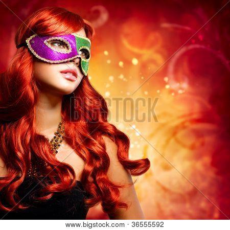 Beautiful Girl in a Carnival mask. Masquerade