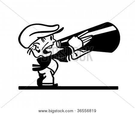 Man With Megaphone - Retro Clipart Illustration