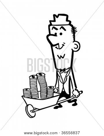 Wheelbarrow Full Of Cash - Retro Clipart Illustration