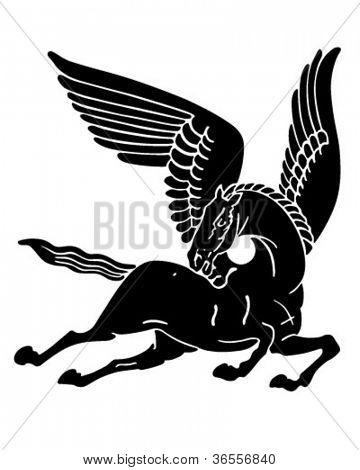 Pegasus Horse Silhouette - Retro Clipart Illustration