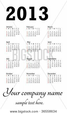Generic 2013 Calendar Portrait