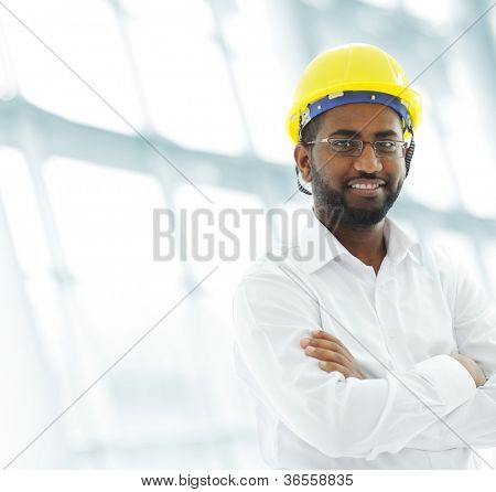 African american architect engineer at working place