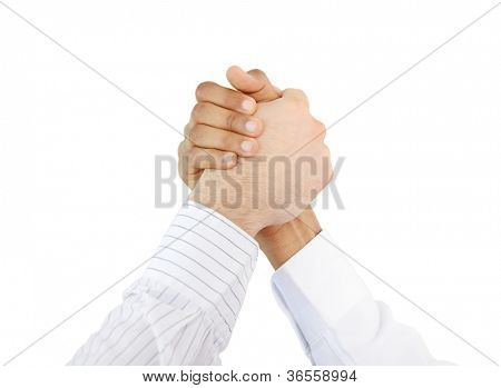 Trust, brotherhood and friendship symbol, two hands together