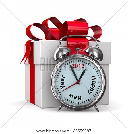 alarm clock and white gift box. Isolated 3D image