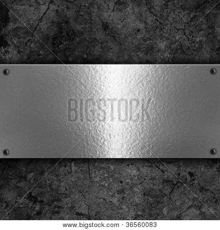 Grunge background with metal plate and rivets